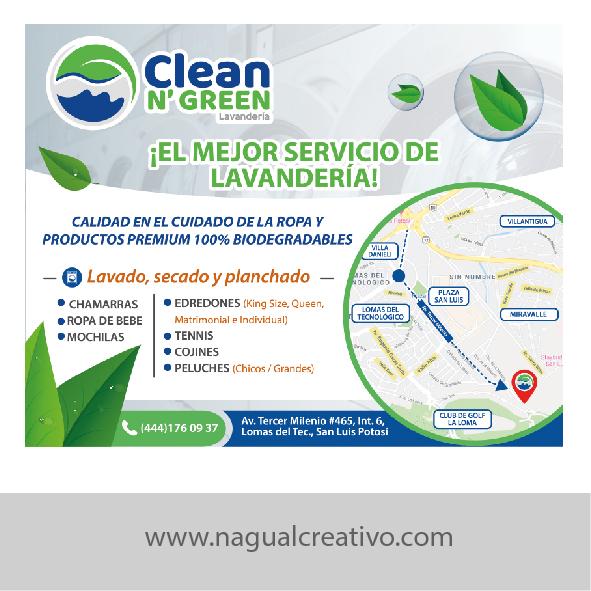 CLEAN´N GREEN - Diseño de publicidad - Nagual Creativo